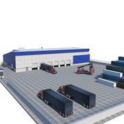 Logistikbyggnad och utrustning 3d model