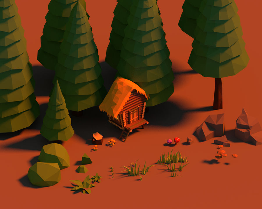 Pakiet leśny Lowpoly royalty-free 3d model - Preview no. 1