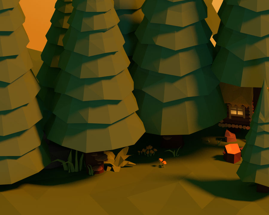 Pakiet leśny Lowpoly royalty-free 3d model - Preview no. 4