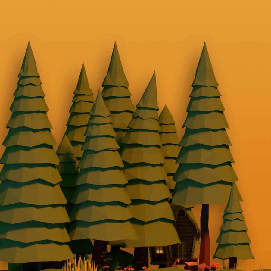 Pakiet leśny Lowpoly royalty-free 3d model - Preview no. 5