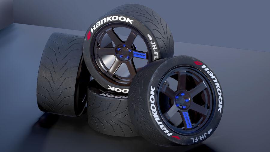 Volk TE37レーシングホイールおよびタイヤ royalty-free 3d model - Preview no. 4