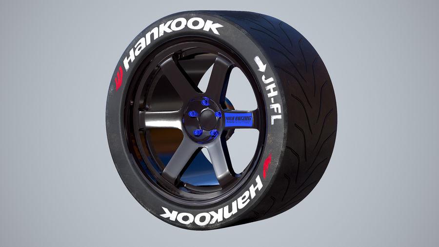 Volk TE37レーシングホイールおよびタイヤ royalty-free 3d model - Preview no. 1