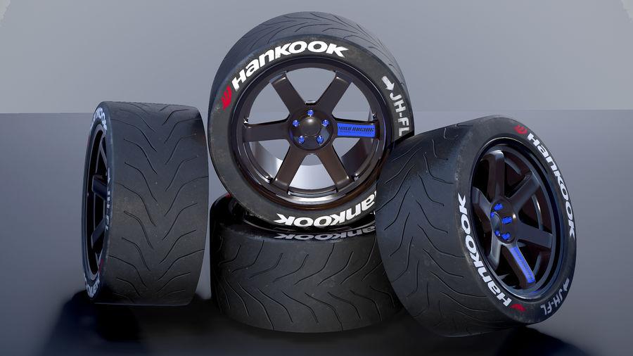 Volk TE37レーシングホイールおよびタイヤ royalty-free 3d model - Preview no. 3