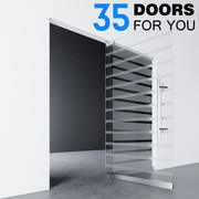 Glass doors _ partitions with sandblasted images 3d model