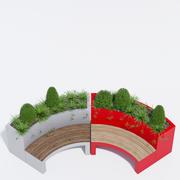 弯曲花坛长椅一 3d model