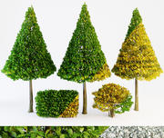 Bomen groen en vallen 3d model