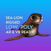 3D Cartoon Sea Lion LOW-POLY RIGGED modelo 3d