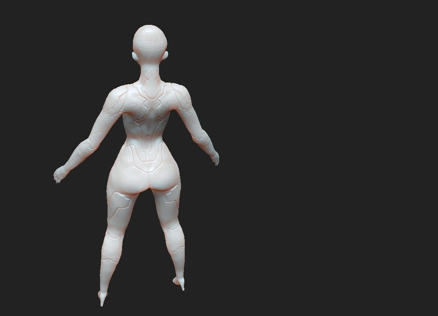 Female Cyborg Robot royalty-free 3d model - Preview no. 14