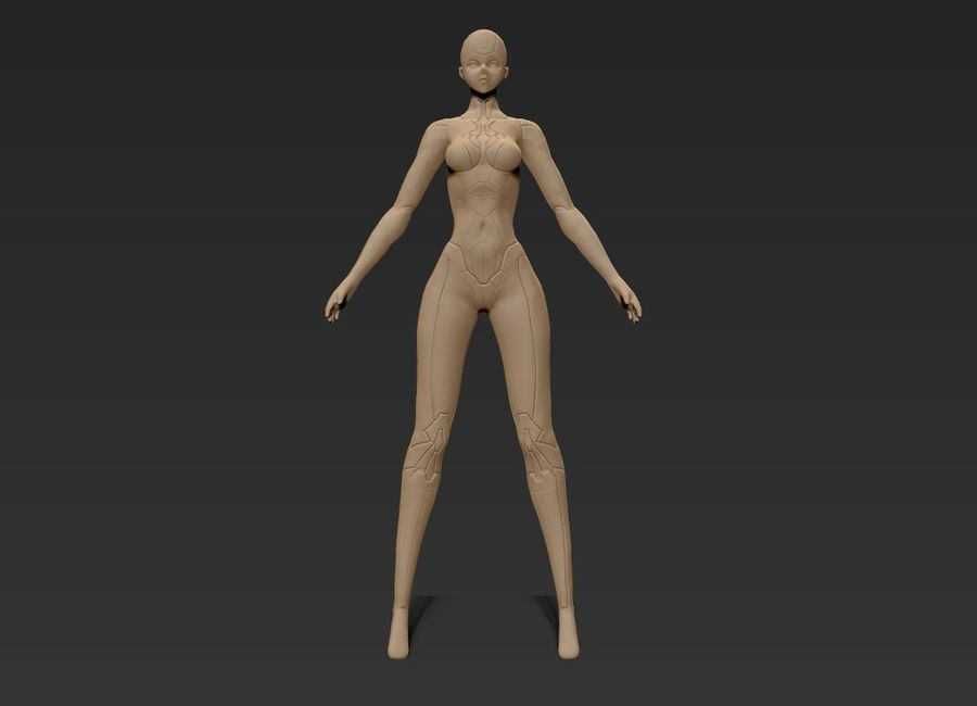 Female Cyborg Robot royalty-free 3d model - Preview no. 24