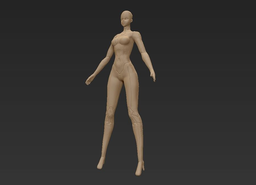 Female Cyborg Robot royalty-free 3d model - Preview no. 25