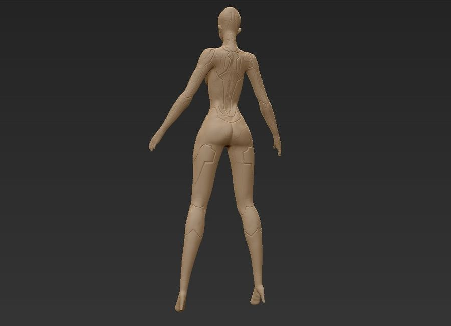 Female Cyborg Robot royalty-free 3d model - Preview no. 28