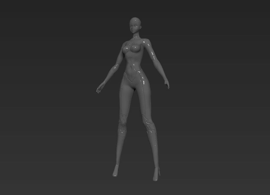 Female Cyborg Robot royalty-free 3d model - Preview no. 3