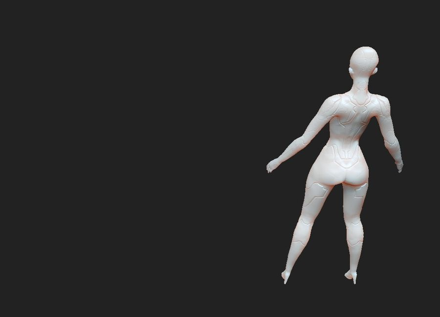 Female Cyborg Robot royalty-free 3d model - Preview no. 11