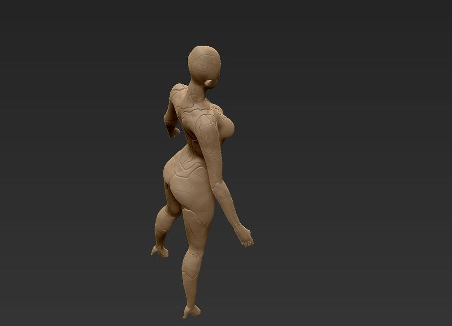 Female Cyborg Robot royalty-free 3d model - Preview no. 30