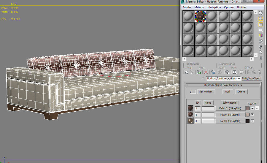 Hudson Möbel - Gitanes Sofa royalty-free 3d model - Preview no. 12