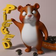 Criceto cartone animato truccato 3d model