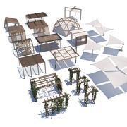 pergola shade sails 3d model