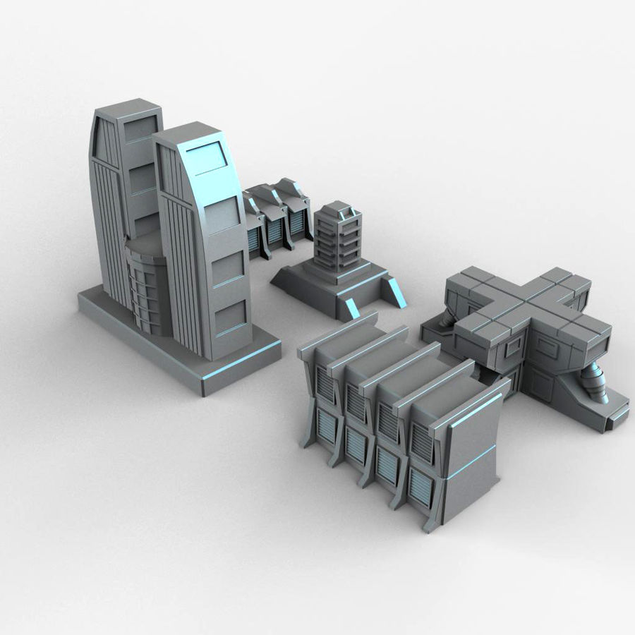 Sci Fi  Futuristic Buildings royalty-free 3d model - Preview no. 4