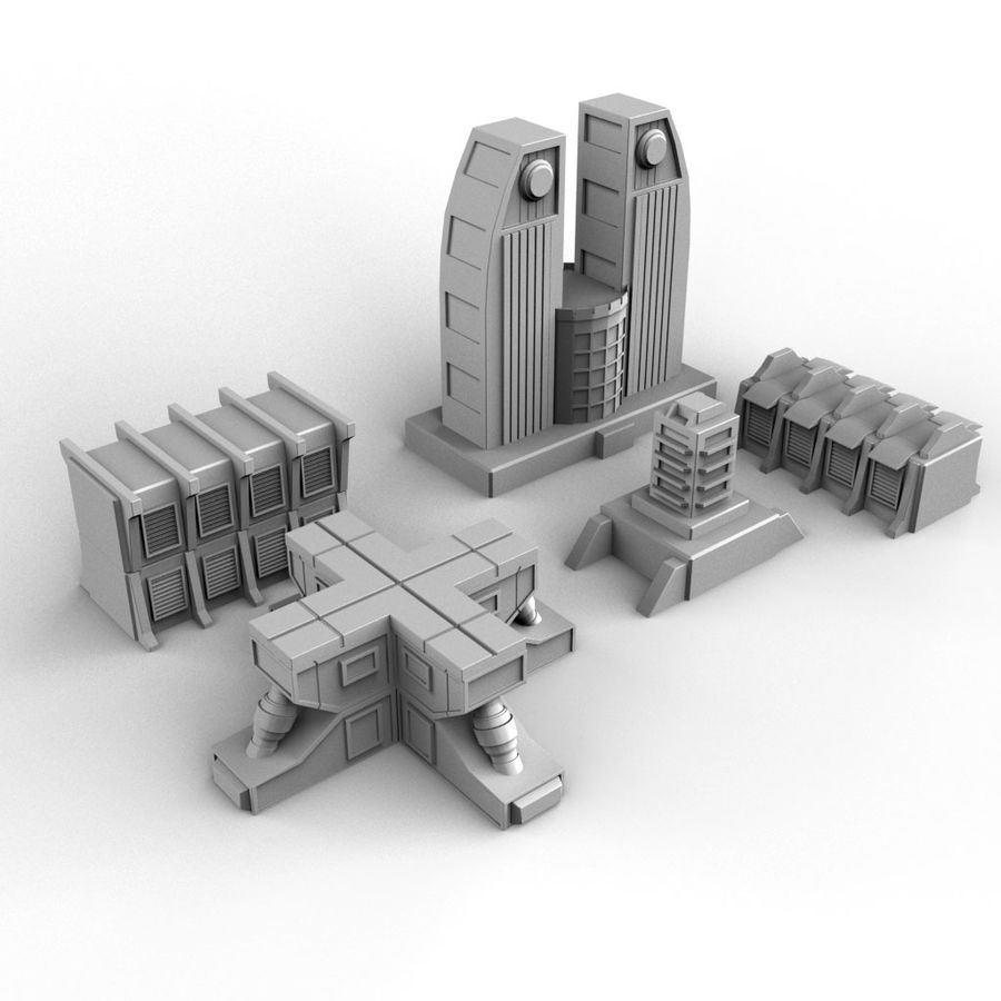 Sci Fi  Futuristic Buildings royalty-free 3d model - Preview no. 2