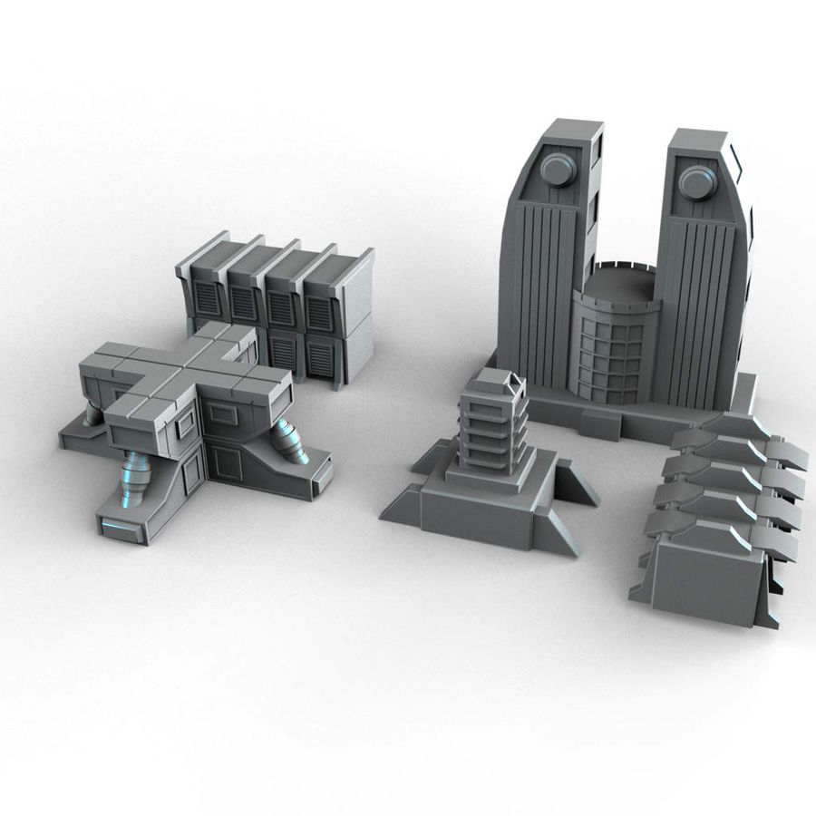 Sci Fi  Futuristic Buildings royalty-free 3d model - Preview no. 3