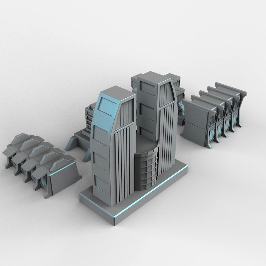 Sci Fi  Futuristic Buildings royalty-free 3d model - Preview no. 5