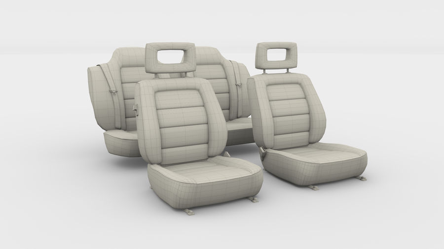 Generic Brown Leather Car Seats royalty-free 3d model - Preview no. 3