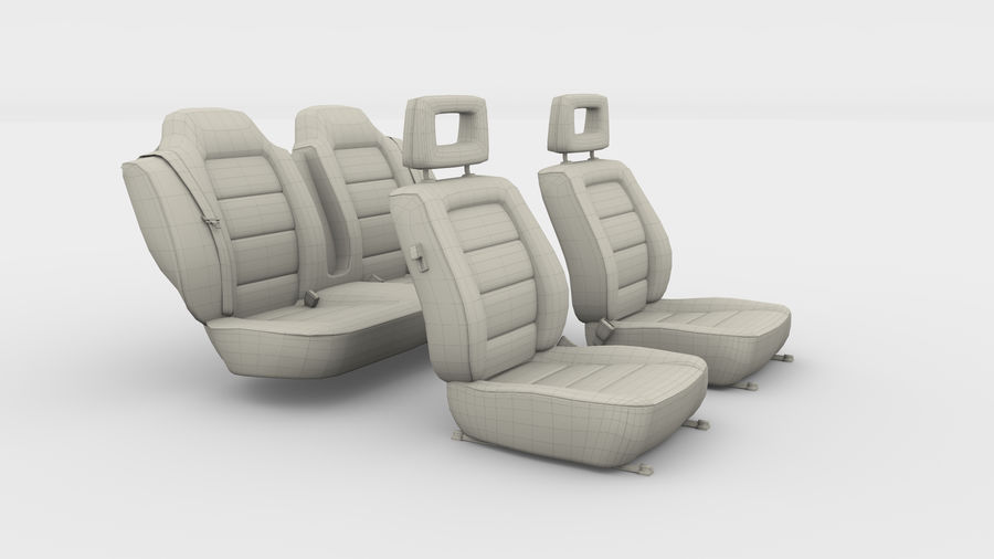 Generic Brown Leather Car Seats royalty-free 3d model - Preview no. 6