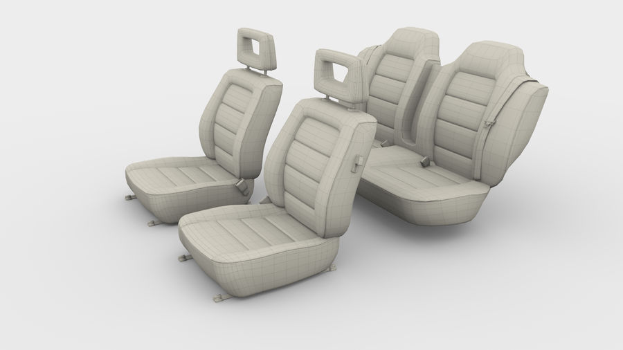 Generic Brown Leather Car Seats royalty-free 3d model - Preview no. 4