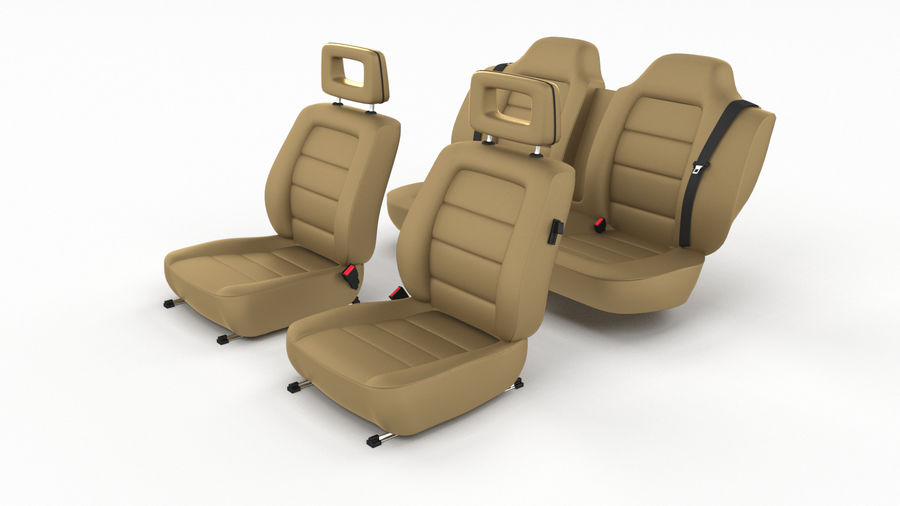 Generic Brown Leather Car Seats royalty-free 3d model - Preview no. 2