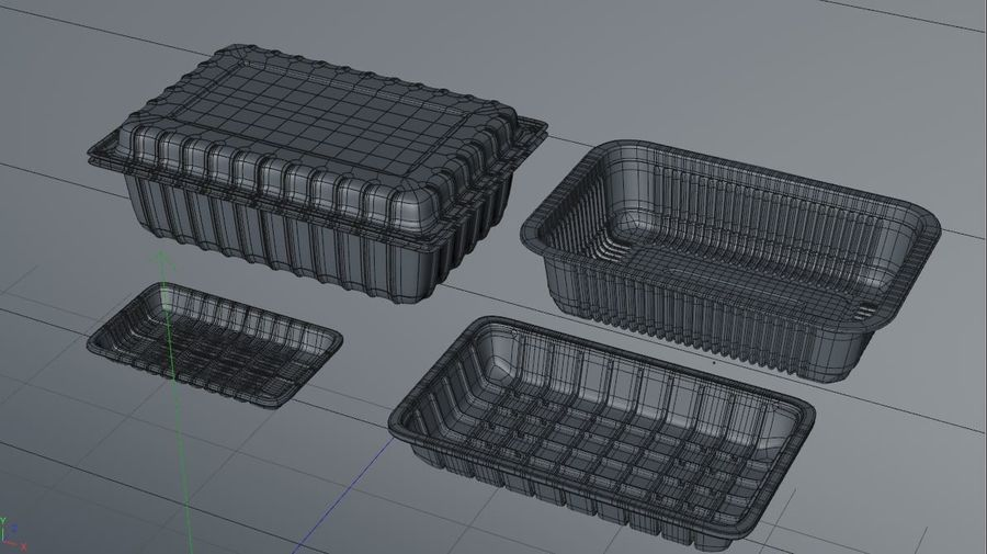 Transparent Plastic Food Container royalty-free 3d model - Preview no. 8