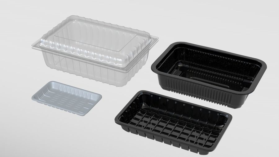 Transparent Plastic Food Container royalty-free 3d model - Preview no. 1