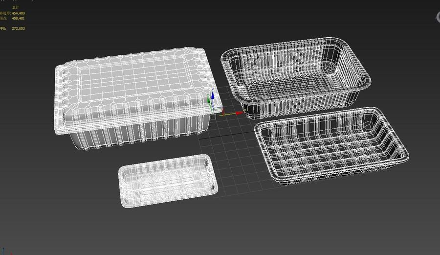 Transparent Plastic Food Container royalty-free 3d model - Preview no. 5