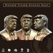 Bronzen buste van Donald Trump 3d model