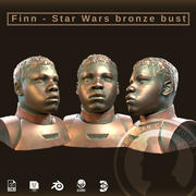 Finn Star Wars bronzen buste 3d model