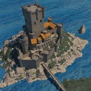 Zamek na wyspie 3d model