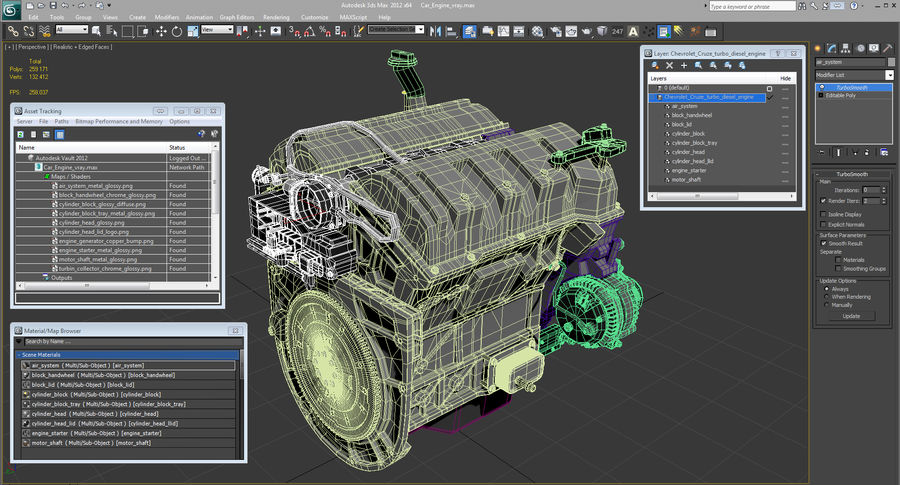 Car Engine royalty-free 3d model - Preview no. 27