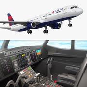 Airbus A321 Delta Airlines с внутренним оснащением 3d model