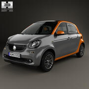 Smart Forfour 2014年 3d model
