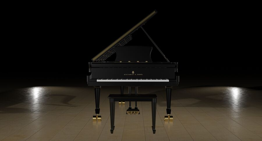 Piano Steinway Concert Grand Model D royalty-free 3d model - Preview no. 15