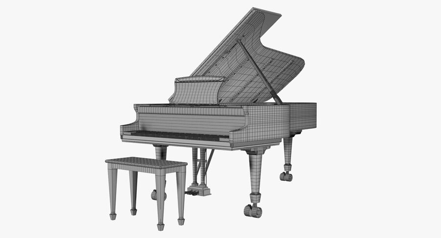 Piano Steinway Concert Grand Model D royalty-free 3d model - Preview no. 9
