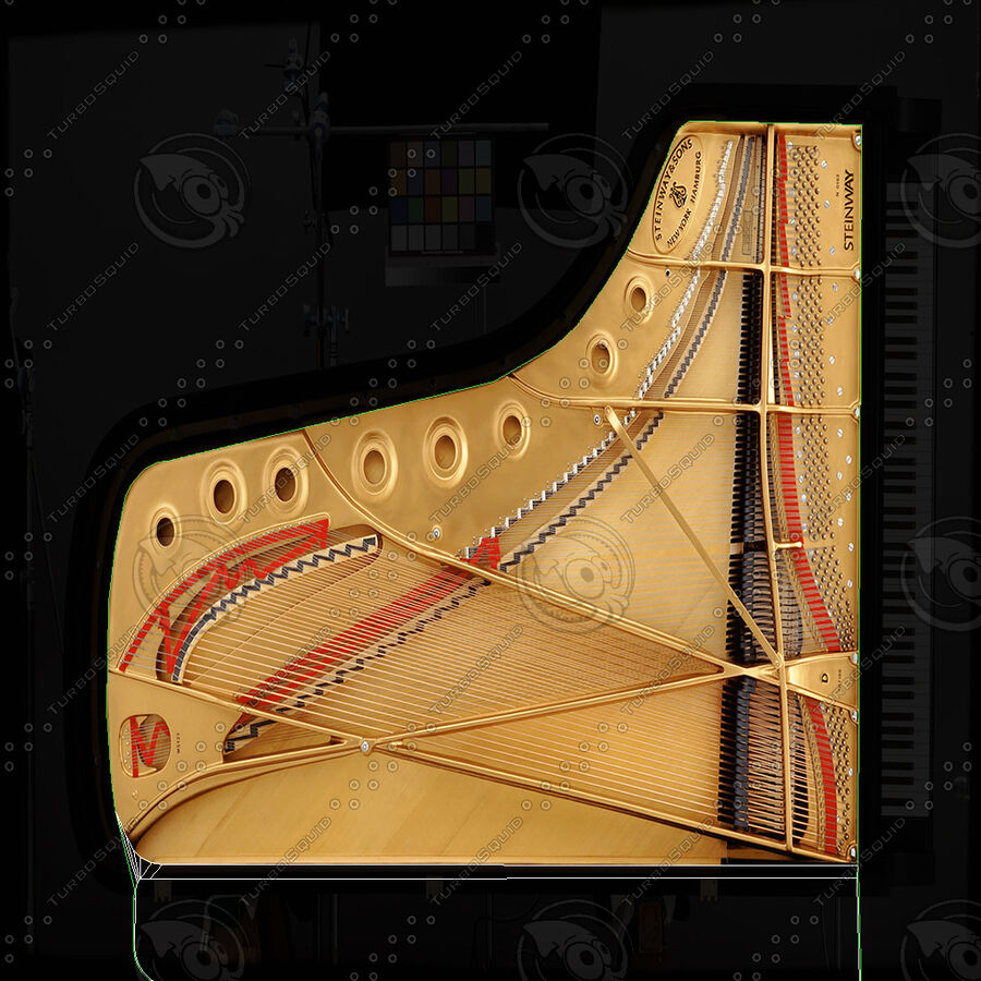 Piano Steinway Concert Grand Model D royalty-free 3d model - Preview no. 22