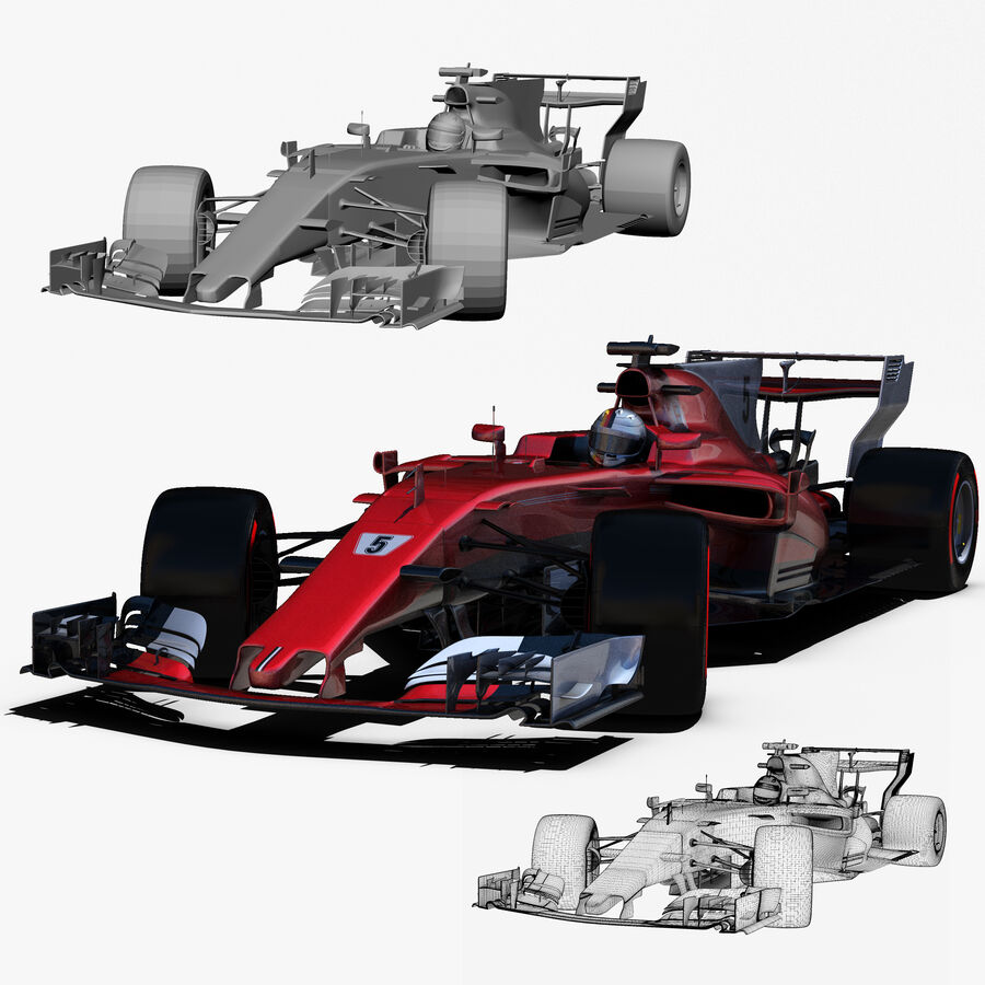 Formel 1 2017 bil royalty-free 3d model - Preview no. 3