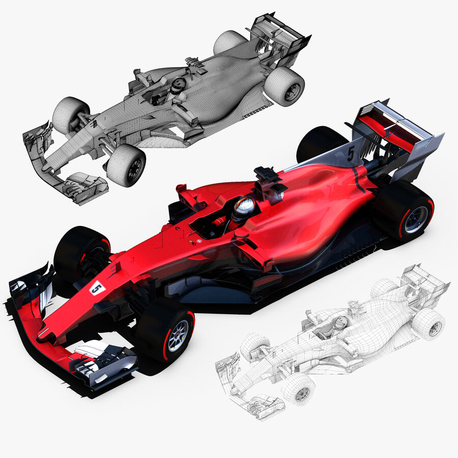 Formule 1 auto 2017 royalty-free 3d model - Preview no. 5