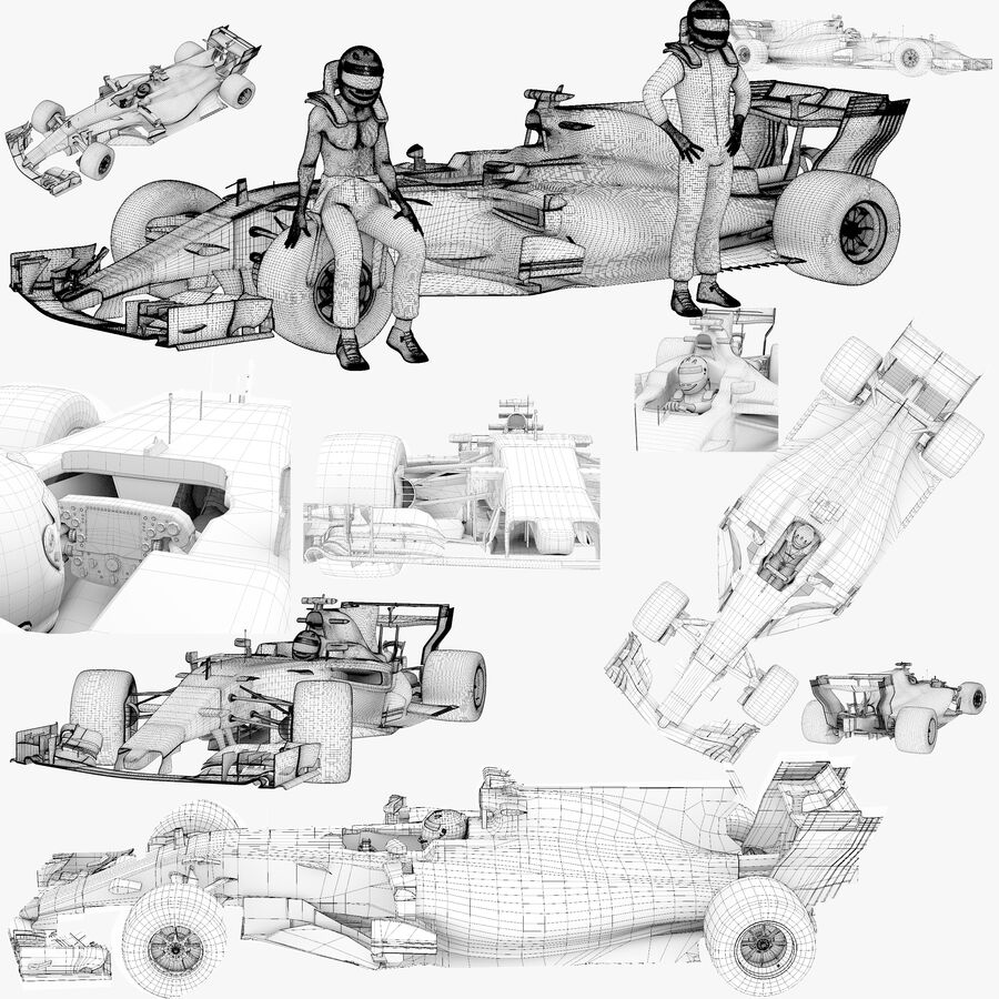Formule 1 auto 2017 royalty-free 3d model - Preview no. 11