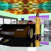 Vehicle Cars Motors Show e Asian Girl 3d model