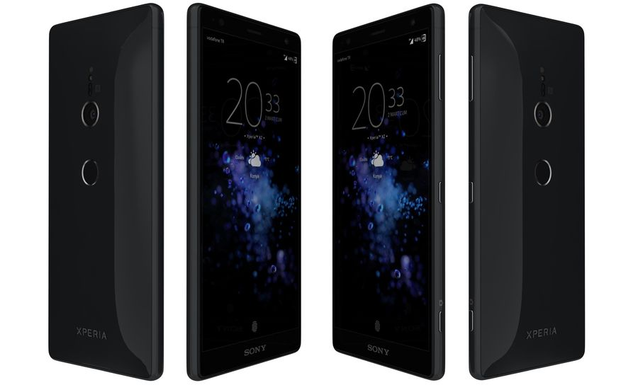索尼Xperia XZ2液体黑色 royalty-free 3d model - Preview no. 3