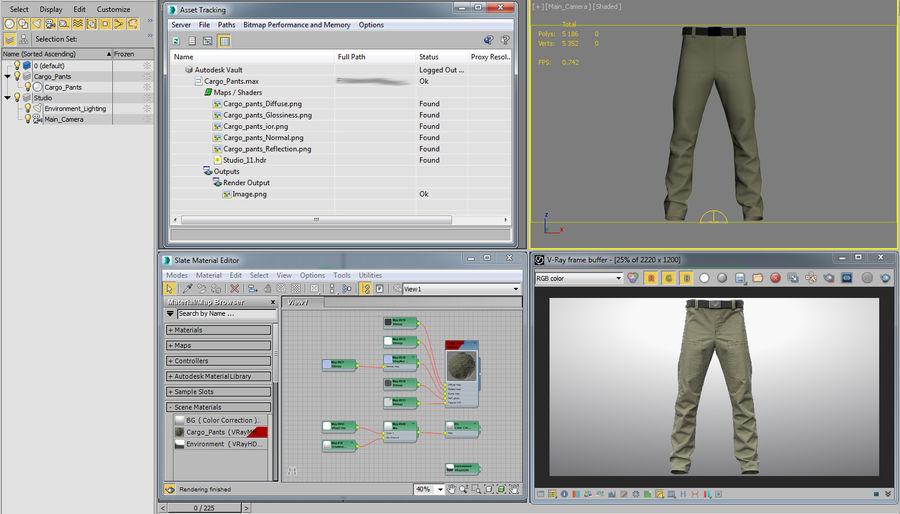 Cargo Pants (Khaki) V-ray + PBR royalty-free 3d model - Preview no. 40