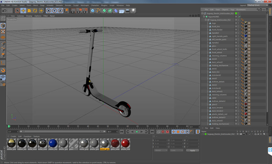 Segway Electric KickScooter ES2 royalty-free 3d model - Preview no. 17