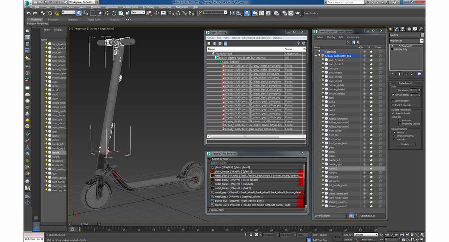 Segway Electric KickScooter ES2 royalty-free 3d model - Preview no. 15