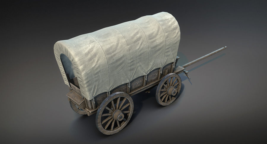 Medieval Wagon royalty-free 3d model - Preview no. 7